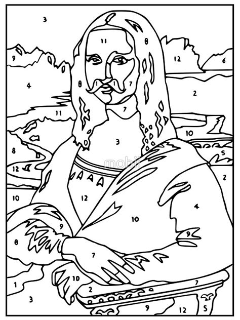Mona Lisa Coloring Page Nywestierescue Com Color By Number Mona Printable
