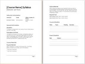 create a syllabus template semester syllabus template document templates