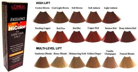 loreal hair color chart ginger l oreal excellence hicolor beautylicious