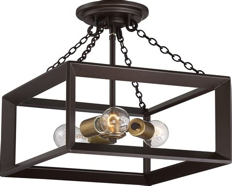 Western Lighting Fixtures Quoizel Bkh1714wt Brook Western Bronze Ceiling Light