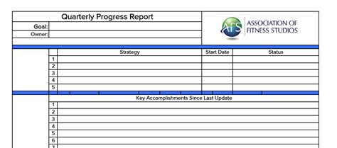 Quarterly Progress Report The Association Of Fitness Studios Quarterly Report Template
