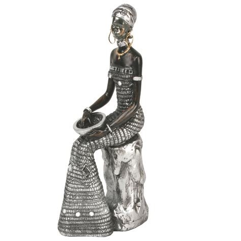 black silver african masai lady sitting figurine gift