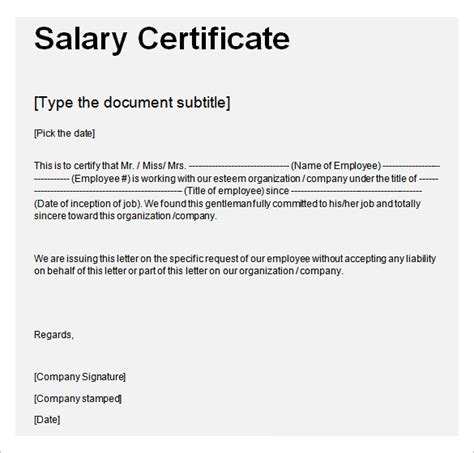 certification of employment letter with salary salary certificate template 25 free word excel pdf