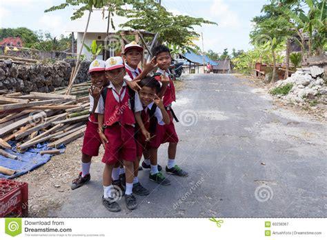 grand design hindu indonesia balinese hindu boys in school uniform editorial