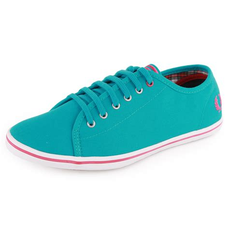 teal shoes fred perry b3182w womens canvas teal trainers new