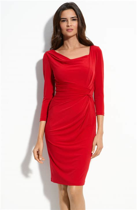 jersey drape dress david meister drape neck matte jersey dress in red lyst