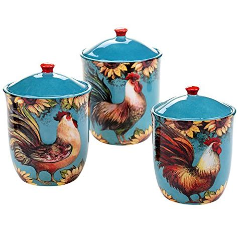 terrific shabby country chic rooster tin canister set home country kitchen canister sets perfect gift for country