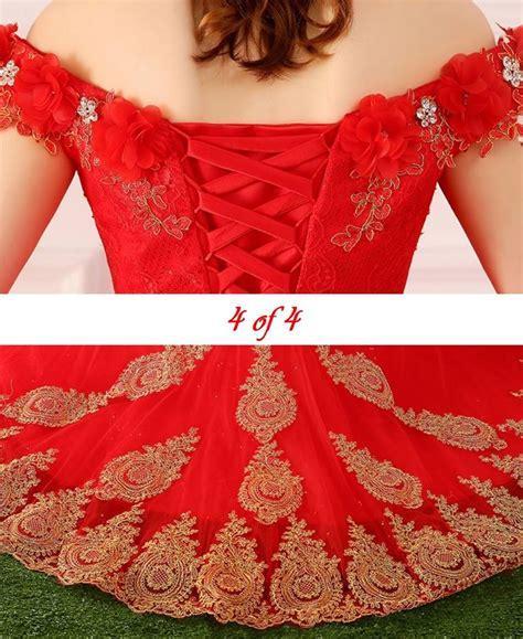 jual wedding dress import gaun pengantin merah bordir sabrina korea gaun baru