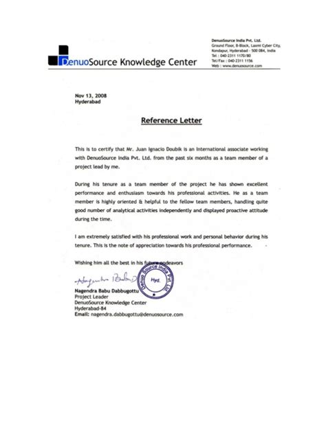 Letter Of Recommendation For Lead Reference Letter Project Lead Denuosource Ltd