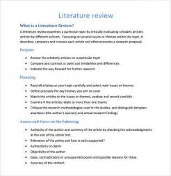 Exle Of A Literature Review by Sle Literature Review Template 6 Documents In Pdf Word