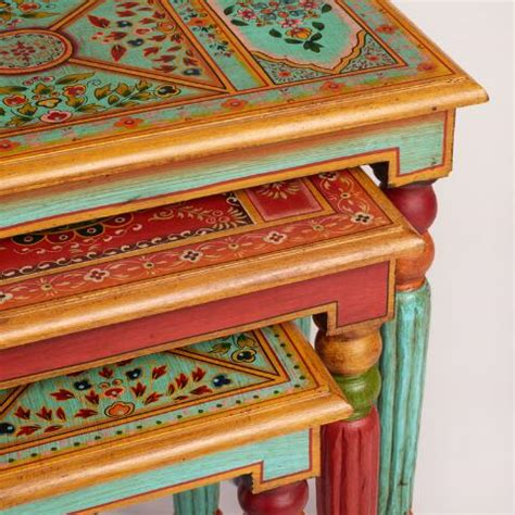 market nesting tables painted wood nesting tables set of 3 market