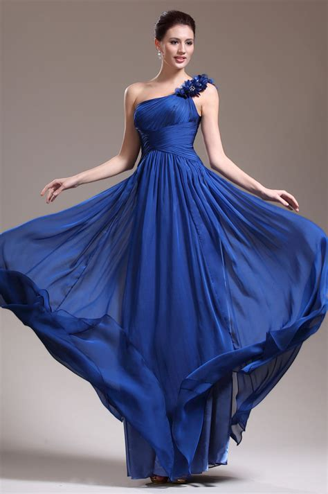 Longdress Blue Big Size Limited flower one shoulder unique royal blue chiffon dress topbridal co nz