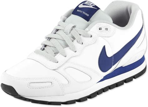 nike air waffle trainer leather shoes white blue