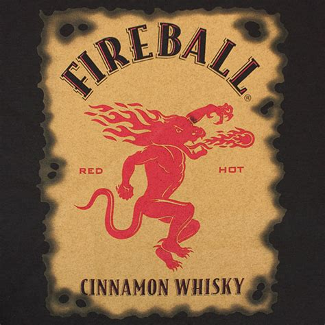 fireball men s whiskey label tee shirt