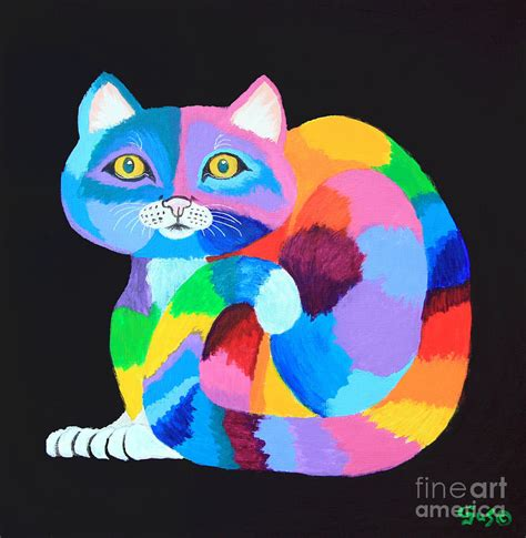 nickelodeon painting colorful rainbow cat painting by nick gustafson