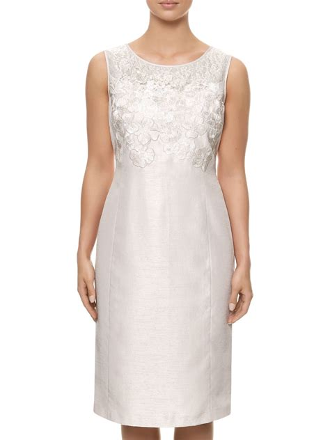 Jacques vert Embroidered Detail Shift Dress in Natural   Lyst