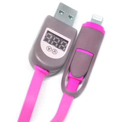 2 In 1 Duo Magic Cable Lightning And Micro Usb Android Ios 9 Black 2 in 1 duo magic cable lightning and micro usb cable with lcd for android ios 11 pink