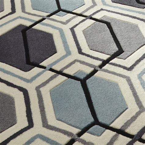 Geometric Design Rugs by Grey Blue Hong Kong Hexagon Rug 100 Tufted Acrylic