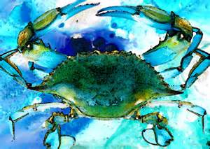 blue crab abstract seafood painting by