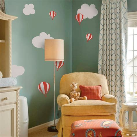 Balloon Nursery Decor Air Balloon With Clouds Contemporary Nursery Decor By Simple Shapes
