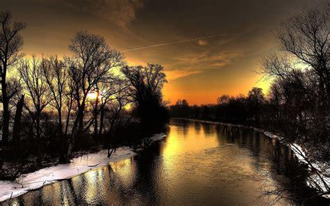 black river dark trees sunset wallpapers black river