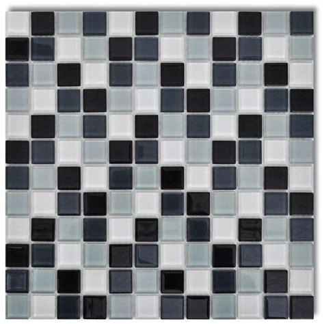 Small Mozaik 2 Pcs vidaxl co uk glass mosaic tiles black white grey 30 pcs 2 7 sqm in total