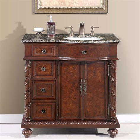 36inch single bathroom vanity off center right sink stone