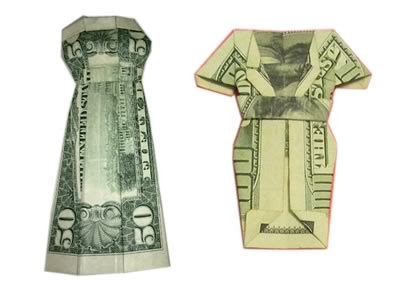 Origami Dollar Dress - easy origami patterns 171 design patterns
