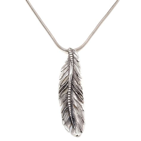 silver feather necklace by s web