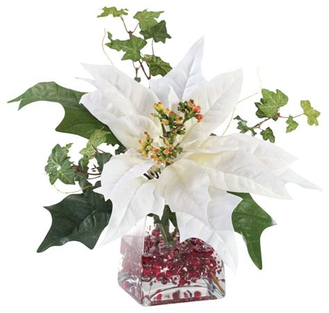 Centerpiece For Dining Room Table petals silk poinsettia arrangement white artificial