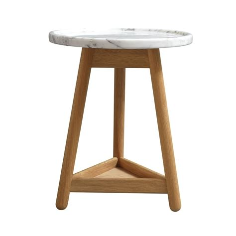 White Marble Side Table by Carve Side Table Oak Base White Marble Top By Bethan Gray