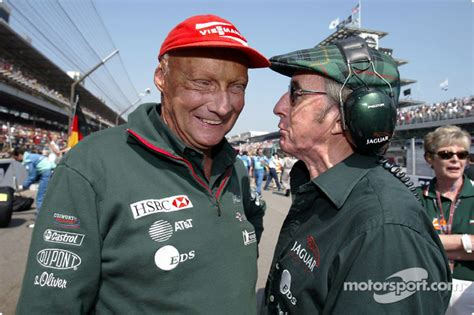 Niki Lauda and Jackie Stewart on the starting grid at
