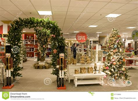 christmas gifts in department store stock photo image