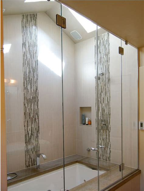 Half Bathroom Tile Ideas by Vertical Accent Tile In A Glass Shower Gorgeous