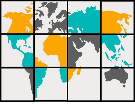 world map grid and paint in a 3 4 part color scheme project
