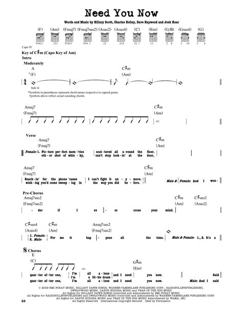 Lady Antebellum Need You Now Guitar Chords