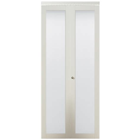 24 Inch Closet Door Shop Kingstar White 1 Lite Solid Tempered Frosted Glass Bifold Closet Door Common 24 In X