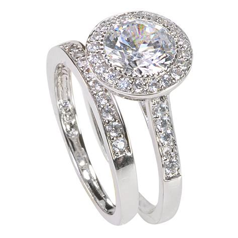Women's Sterling Silver Engagement Ring Set 2ct Cubic