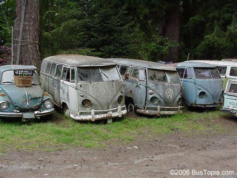 volkswagen wrecking yard with vw split window buses for