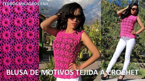 Blusa Rosada Tejida Con Motivos A Crochet Paso A Paso Tejidos Milagros Ena | blusa rosada tejida con motivos a crochet paso a paso
