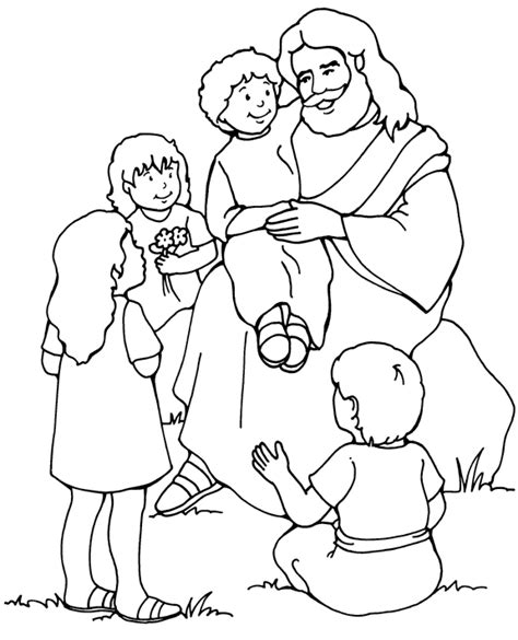 coloring page of jesus teaching jesus and the children coloring page