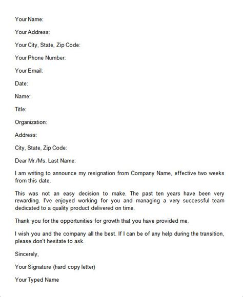 two weeks notice letter 31 free word pdf documents free premium templates