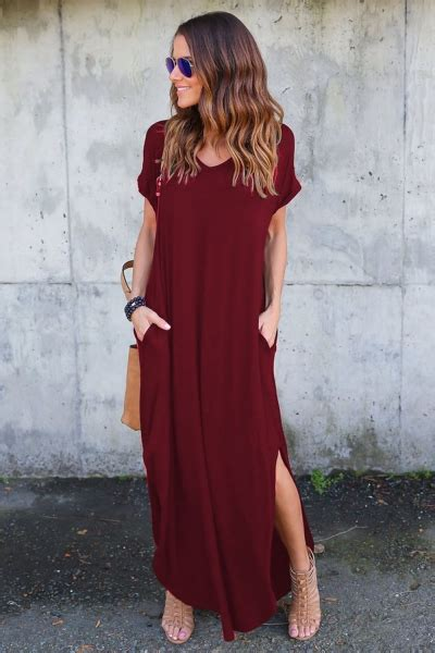 Sleeve Slit Side V Neck Dress s v neck sleeve fit side slit maxi dress