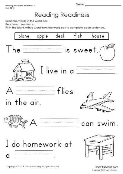 snapshot image of reading readiness worksheet 1