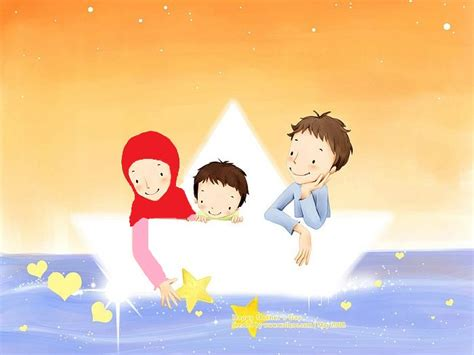 wallpaper cartoon family kartun keluarga muslim laa tahzan