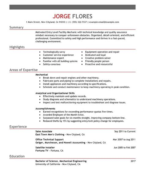 entry level it resume template unforgettable entry level mechanic resume exles to