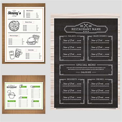 free menu design templates restaurant menu vector templates free