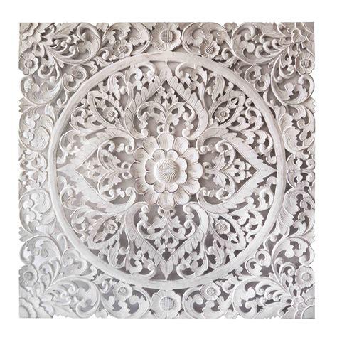 white wall decor balinese carved mdf decorative panel siam sawadee