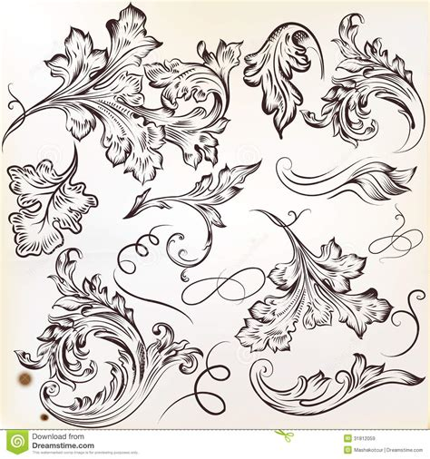 ornament design elements vector set set of vector calligraphic swirl ornaments for design