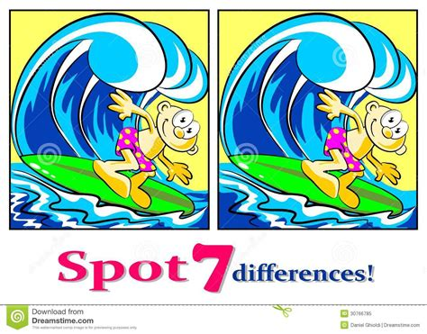 with a difference the surfer find the seven differences royalty free stock